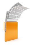 Cartella del computer con i documenti Immagine Stock Libera da Diritti