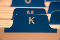 Cartella di archivio con la lettera K fotografie stock libere da diritti