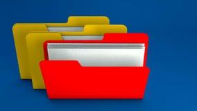 Cartella di archivio gialla e rossa Fotografia Stock
