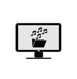 Cartella di musica delle icone del computer Fotografia Stock Libera da Diritti