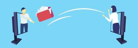 Cartella documenti di lancio della donna di affari da equipaggiare dall'orizzontale online di concetto di trasferimento di inform illustrazione di stock