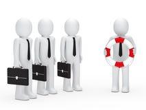 cartella e salvagente degli uomini di affari 3d Immagini Stock
