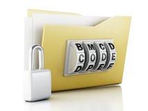 Cartella e serratura Concetto di protezione dei dati illustrazione 3D Fotografie Stock Libere da Diritti