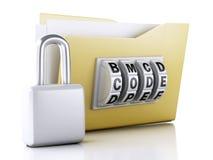 Cartella e serratura Concetto di protezione dei dati illustrazione 3D Immagine Stock Libera da Diritti