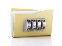 Cartella e serratura Concetto di protezione dei dati illustrazione 3D Fotografie Stock