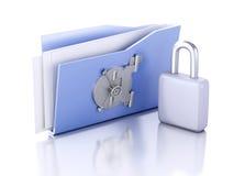 Cartella e serratura Concetto di protezione dei dati illustrazione 3D Immagini Stock Libere da Diritti