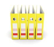 Cartella gialla dell'ufficio, vista frontale Ring Binders rappresentazione 3d Fotografia Stock