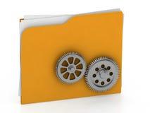 Cartella illustrata con la ruota di ingranaggio - concetto di lavoro - rende 3d Immagine Stock