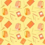 Cartella, taccuino, gomma, matite, righello illustrazione vettoriale