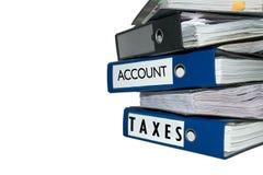 Cartelle del registro fiscale su fondo bianco Immagine Stock