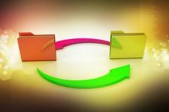 Cartelle dell'ufficio con la freccia del ciclo Fotografie Stock