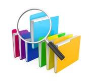 Cartelle e lente d'ingrandimento isolate Concetto di ricerca dell'archivio Immagine Stock Libera da Diritti