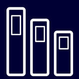 Cartelle o icona di documenti dei profili di bianco dell'insieme Immagini Stock