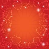 Cartellino rosso con i cuori per il giorno di S. Valentino Illustrazione di Stock