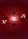 Cartellino rosso con il nastro rosso brillante, il modello nero Immagini Stock Libere da Diritti