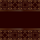 Cartellino rosso con l'ornamento dorato Immagine Stock