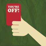 Cartellino rosso dell'arbitro di calcio Immagine Stock