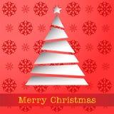 Cartellino rosso della carta di Buon Natale illustrazione vettoriale
