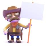 cartello del cowboy 3d Fotografia Stock