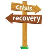 Cartello di legno per la crisi ed il recupero Fotografie Stock