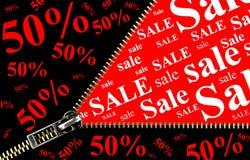 Cartello di vendita di 50% con il concetto di apertura della chiusura lampo Immagine Stock