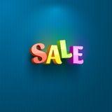 Cartello di vendita per la pubblicità del testo Immagini Stock
