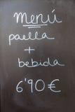 Cartello esteriore del menu Barcellona - in Spagna Fotografia Stock