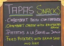 Cartello esteriore del menu Barcellona - in Spagna Immagini Stock