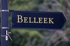 Cartello per Belleek in Irlanda del Nord fotografia stock libera da diritti