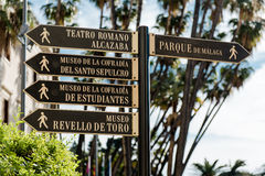 Cartello turistico a Malaga Fotografia Stock Libera da Diritti