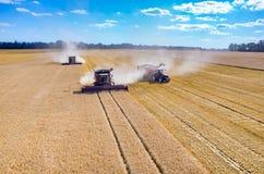 Cartels et tracteurs travaillant au champ de blé Photo libre de droits
