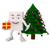 Caráter ao lado da árvore de Natal Fotos de Stock Royalty Free