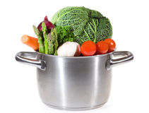 Carter avec les légumes frais pour le potage Images libres de droits