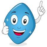 Caráter azul de Viagra do comprimido com polegares acima Imagens de Stock Royalty Free