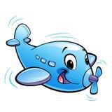 Caráter azul do avião dos desenhos animados bonitos do bebê com voo da hélice Fotografia de Stock