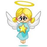 Caráter bonito do anjo do voo do Natal da ilustração do vetor Fotos de Stock Royalty Free