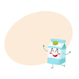Caráter bonito engraçado da caixa do leite com um sorriso tímido Foto de Stock