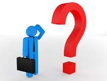 caráter 3d humano muitas perguntas do vermelho Foto de Stock Royalty Free