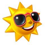 Caráter de sorriso de Sun do verão Fotos de Stock Royalty Free