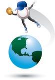 Caráter do basebol sobre o mundo Fotos de Stock Royalty Free