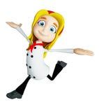 Caráter do cozinheiro chefe com pose de corrida Fotografia de Stock
