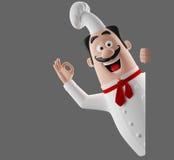 caráter do cozinheiro dos desenhos animados 3d Fotos de Stock Royalty Free