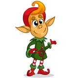 Caráter do duende do Natal no chapéu de Santa Ilustração do cartão do Natal com duende bonito Imagens de Stock