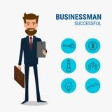 Caráter do homem de negócios com conceito bem sucedido dos ícones Foto de Stock Royalty Free