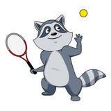 Caráter do jogador de tênis do guaxinim dos desenhos animados Fotos de Stock Royalty Free