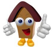 Caráter feliz da mascote da casa 3d Fotos de Stock Royalty Free