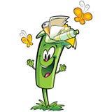 Caráter feliz do escaninho de lixo do verde dos desenhos animados que recicla o plástico de papel Fotos de Stock