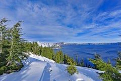Carter jezioro i śnieg, LUB zdjęcia stock
