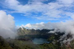 Carter lake of mt Rinjani in the clouds Stock Photo