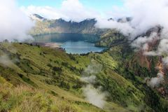Carter lake of mt Rinjani in the clouds. Lombok   Indonesia Royalty Free Stock Photo